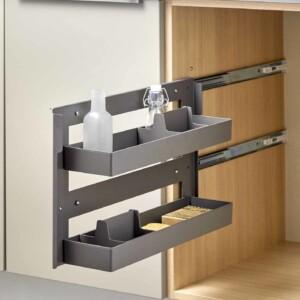 amenagement multi fonctions sous chef pour meuble de 200mm structure en metal laque et bacs amovibles en plastique finition gris orion sortie totale avec systeme soft